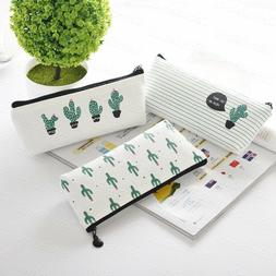 Cactus Canvas Pencil Pen Case Cosmetic Holder Pouch Pocket M