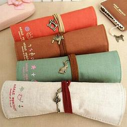 Canvas Bag Holder Wrap Roll Up Stationery Pen Brushes Makeup