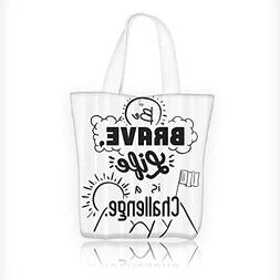 Canvas Tote Bag Brave Life is Challenge Enduring ncentive Mo