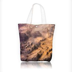 Canvas Tote Bag Sunrise Over Foggy Morning Time Wildlife Sce