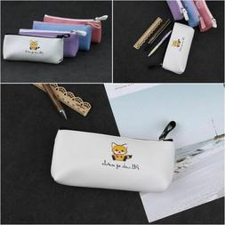 Capacity Stationery Storage PU Leather Box Makeup Pouch Cat