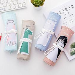 Cartoon Pencil Pen Case Roll Up Cosmetic Pouch Pocket Brush