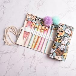Cat Canvas Bag Holder Wrap Roll Up Stationery Pen Brushes Pe