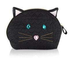 Betsey Johnson Cat Kitch Nylon Travel Cosmetic Case Pouch -