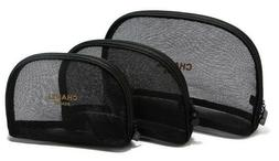 Chanel Beaute Cosmetic Makeup Bag Black Mesh 2 Sizes Excelle