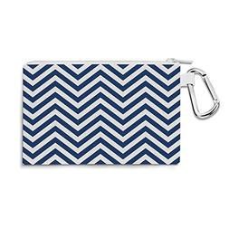 Chevron Stripes Navy - Small Canvas Pouch 7x5 inch - Canvas