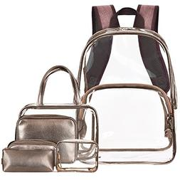 NiceEbag 6 in 1 Clear Backpack with Cosmetic Bag Set Makeup