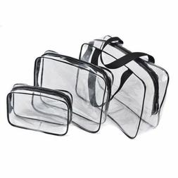 Hot 3pcs Clear Cosmetic Toiletry PVC Travel Wash Makeup Bag