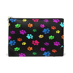 ALAZA Colorful Dog Paw Print Makeup Cosmetic Bag Pouch Trave