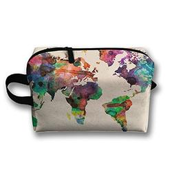Colorful World Map Travel Bag Cosmetic Bags Brush Pouch Port