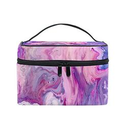 Cooper girl Abstract Purple Marble Cosmetic Bag Travel Makeu