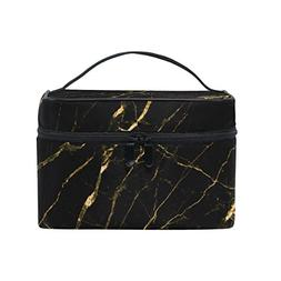 Cooper girl Black Gold Marble Cosmetic Bag Travel Makeup Tra