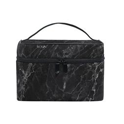 Cooper girl Black Marble Cosmetic Bag Travel Makeup Train Ca