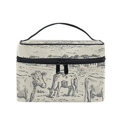 Cooper girl Hand Drawn Vintage Cow Field Cosmetic Bag Travel