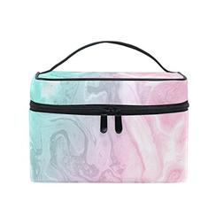 Cooper girl Pink Green Marble Cosmetic Bag Travel Makeup Tra