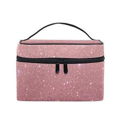 Cooper girl Rose Gold Bling Cosmetic Bag Travel Makeup Train