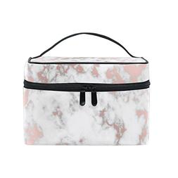 Cooper girl Rose Gold Marble Cosmetic Bag Travel Makeup Trai