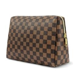 Cosmetic pouch makeup bag Brown Checkered .