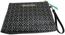 "Betsey Johnson Women's Large Cosmo Pouch, 11""x8""x3"", Black/W"