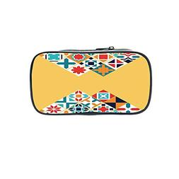 Customizable Pen Bag,Yellow and Blue,Beaming Sun Above The H