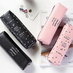 Cute PU Pencil Pen Case Cosmetic Makeup Coin Storage Pouch Z