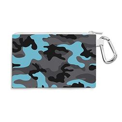 Dark Camouflage Blue - Large Canvas Pouch 10x7 inch - Canvas