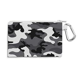 Dark Camouflage White - Large Canvas Pouch 10x7 inch - Canva