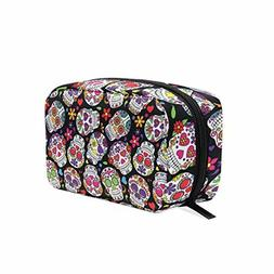 ALAZA Day Of The Dead Sugar Skull Cosmetic Bag Black Zipper