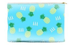 Delta Delta Delta  Yellow Pineapple Pattern Blue Cosmetic Ac