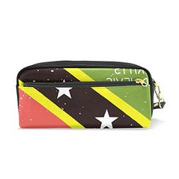 Distressed Kitts and Nevis Flag PU Leather Student Pencil Ca