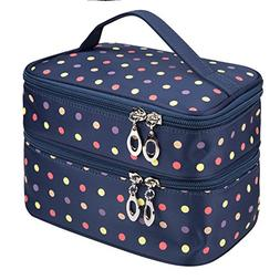 Small Double Layer Traveling Makeup Bag Small Dots Travel To