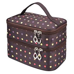 Double Layer Traveling Makeup Bag Small Dots Pattern Cosmeti