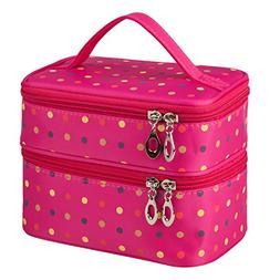 Double Layer Traveling Makeup Bag Small Dots Travel Toiletry