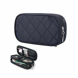 HOYOFO Double-Sided Cosmetic Pouch Bag for Travel Makeup Bru