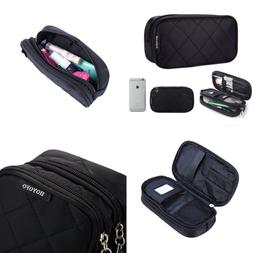 HOYOFO Double Sided Cosmetic Pouch Bag For Travel Makeup Bru