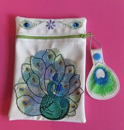 HANDMADE EMBROIDERED PEACOCK WHITE VINYL COSMETIC MAKEUP BAG