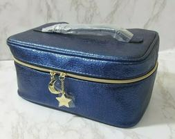 ESTEE LAUDER BLUE MAKEUP COSMETIC MAKEUP CASE BAG FAUX LEATH