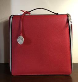 Estee Lauder Makeup Cosmetic Bag TRAIN CASE Faux Leather RED