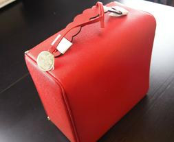Estee Lauder Red Train Case / Cosmetic Bag 10.5 in x 10.5 in