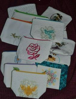 Fabric Embroidered Cosmetic Purse Bag Zippered HANDMADE YOU