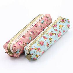 Fashion Flower Floral Lace Pencil Pen Case Cosmetic Makeup B