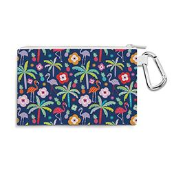 Flamingo Paradise Navy - Large Canvas Pouch 10x7 inch - Canv
