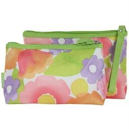 Clinique Floral Print 2 Pcs Cosmetic Makeup Bag New