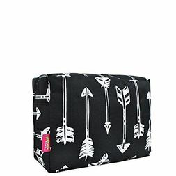 N. Gil Large Travel Cosmetic Pouch Bag Arrow Black