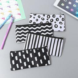 girl black white pencil pen case cosmetic