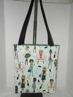 Glam girls makeup inspired cotton fabric tote bag handmade h