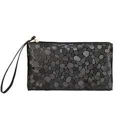 Women's Glitter Faux Leather Wristlet Clutch Purse Travel To