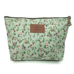 HUNGER Green Flowers Make-Up Cosmetic Bag Carry Case , 14 Pa