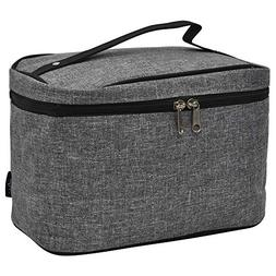 Grey Crosshatch NGIL Large Top Handle Cosmetic Case
