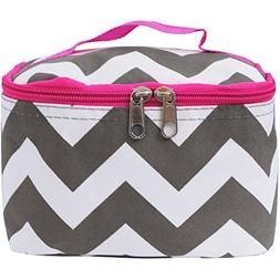Grey & White Chevron Print Cosmetic Case